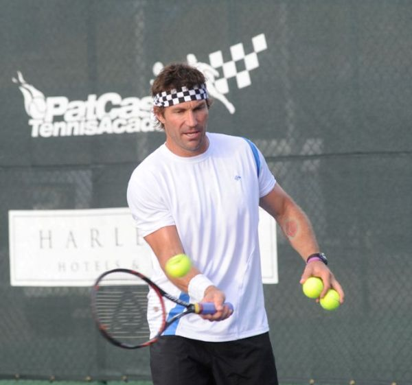 Pat Cash cpaching guests at Bucc Bay