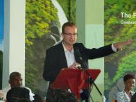 Garrett Ronan of Harlequin Hotels & Resorts at the hand over event at Buccament Bay Secondary School