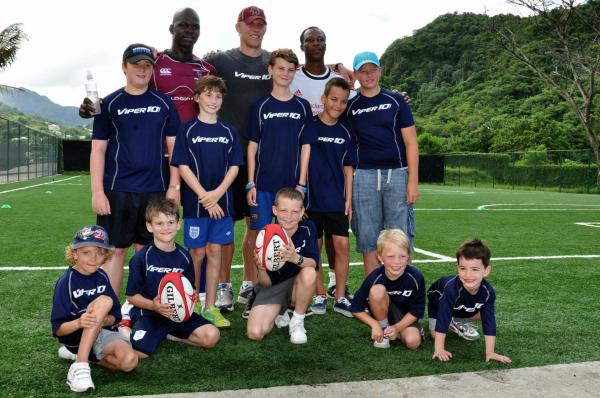 Lewis Moody coaching young guests at Buccament Bay Resort in 2012