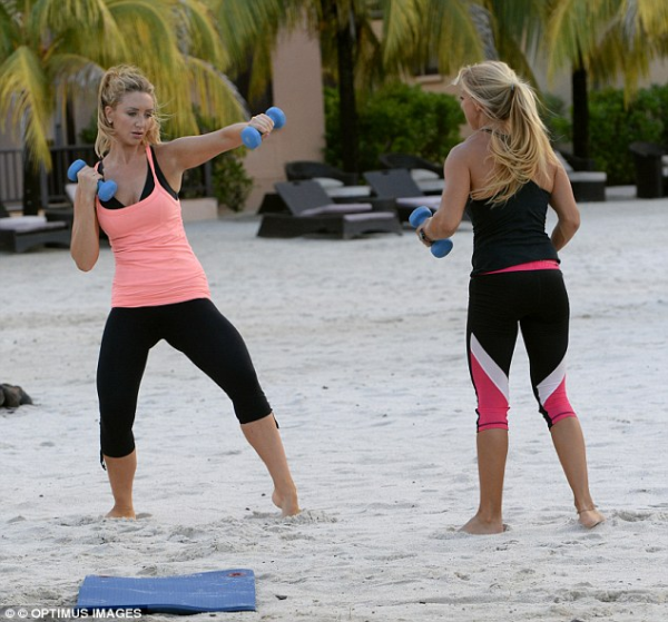 Catherine Tyldesley with Charlotte Woolf, Buccament Bay Resort's fantastic Fitness Instructor & Nutritionist (Photo via: http://www.dailymail.co.uk)