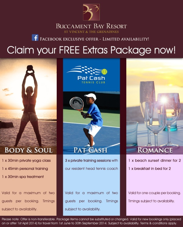 Extras Packages at Buccment Bay Resort, St Vincent & The Grenadines