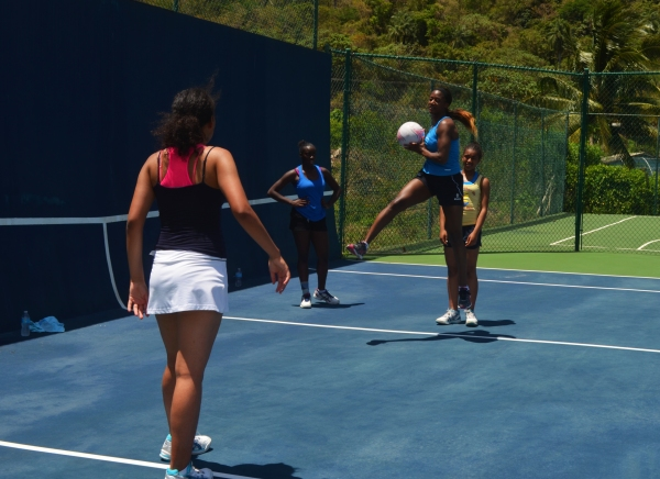 Sasha Corbin coaching guests at Buccament Bay Resort, St Vincent & The Grenadines